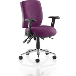 Chiro Task Operator Chair Medium Back Purple Colour With Arms Ref KCUP0120