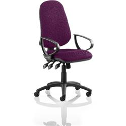 Eclipse XL III Lever Task Operator Chair Purple Colour With Loop Arms Ref KCUP0900
