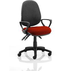 Luna III Lever Task Operator Chair Black Back Pimento Colour Seat With Loop Arms Ref KCUP0991