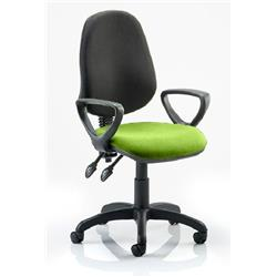 Eclipse II Lever Task Operator Chair Black Back Swizzle Colour Seat Fabric With Loop Arms Ref KCUP0850
