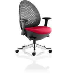 Revo Task Operator Chair Cherry Colour Seat With Arms Ref KCUP0713
