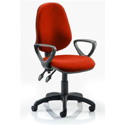 Eclipse II Lever Task Operator Chair Pimento Colour Fabric With Loop Arms Ref KCUP0839