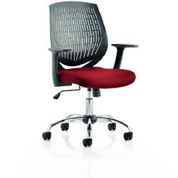 Dura Black Task Operator Chair Back Chilli Colour Seat With Arms Ref KCUP0206
