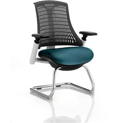 Flex Task Operator Chair White Frame Black Back Cantilever Kingfisher Colour Seat With Arms Ref KCUP0743