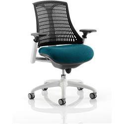 Flex Task Operator Chair White Frame Black Back Kingfisher Colour Seat With Arms Ref KCUP0751