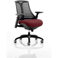 Flex Task Operator Chair Black Frame Black Back Chilli Colour Seat With Arms Ref KCUP0286