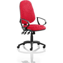 Eclipse III Lever Task Operator Chair Cherry Colour With Loop Arms Ref KCUP0864