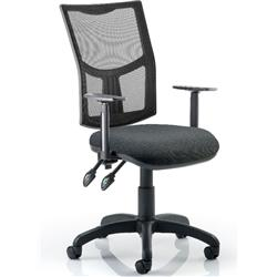 Eclipse II Task Operator Chair With Black Mesh Back Charcoal Fabric Seat With Height Adjustable Arms Ref KC0174