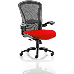Houston Task Operator Chair Mesh Back Cherry Fabric Seat With Arms Ref KCUP0993
