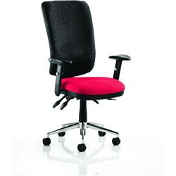 Chiro Task Operator Chair High Back Cherry Colour Seat With Arms Ref KCUP0105