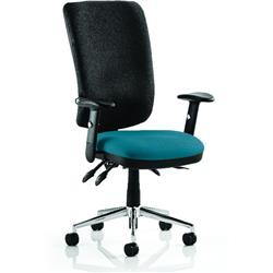 Chiro Task Operator Chair High Back Kingfisher Colour Seat With Arms Ref KCUP0111