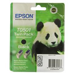 Epson T0501 Black Inkjet Cartridge Twinpack (Panda) Ref C13T50142