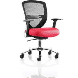 Iris Task Operator Chair Cherry Colour Seat With Arms Ref KCUP0297