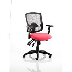 Portland III Task Operator Chair Black Mesh Back Cherry Colour Seat With Arms Ref KCUP0489