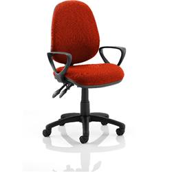 Luna II Lever Task Operator Chair Pimento Colour With Loop Arms Ref KCUP0943