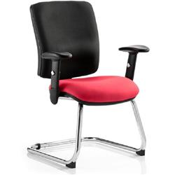 Chiro Task Operator Chair Medium Cantilever Cherry Colour Seat With Arms Ref KCUP0137