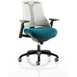 Flex Task Operator Chair Black Frame White Back Kingfisher Colour Seat With Arms Ref KCUP0767