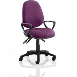 Luna III Lever Task Operator Chair Purple Colour With Loop Arms Ref KCUP0964