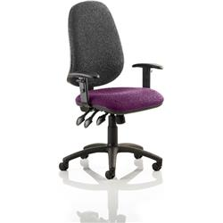 Eclipse XL III Lever Task Operator Chair Black Back Purple Colour Seat With Height Adjustable Arms Ref KCUP0908