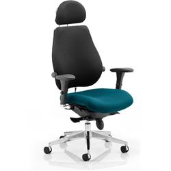 Chiro Plus Posture Chair Ultimate With Headrest Kingfisher Colour Seat With Arms Ref KCUP0167