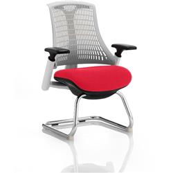 Flex Task Operator Chair White Back Cantilever White Frame Cherry Colour Seat With Arms Ref KCUP0721
