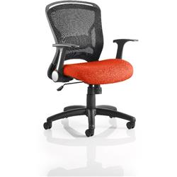 Zeus Task Operator Chair Pimento Colour Seat Fabric With Arms Ref KCUP0708