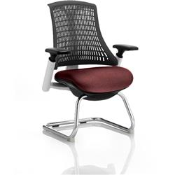Flex Task Operator Chair White Frame Black Back Cantilever Chilli Colour Seat With Arms Ref KCUP0742