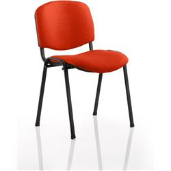 ISO Stacking Chair Pimento Colour Fabric Black Frame Without Arms Ref KCUP0308