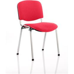 ISO Stacking Chair Cherry Colour Fabric Chrome Frame Without Arms Ref KCUP0313