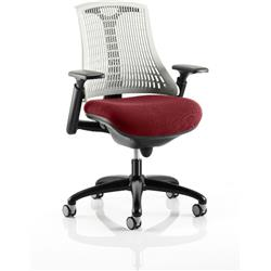 Flex Task Operator Chair Black Frame White Back Chilli Colour Seat With Arms Ref KCUP0766