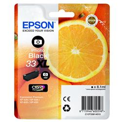 Epson T33XL Inkjet Cartridge Capacity 8.1ml Photo Black Ref C13T33614012