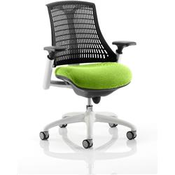 Flex Task Operator Chair White Frame Black Back Swizzle Colour Seat With Arms Ref KCUP0746