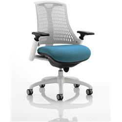 Flex Task Operator Chair White Back White Frame Kingfisher Colour Seat With Arms Ref KCUP0735