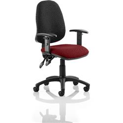 Eclipse II Lever Task Operator Chair Black Back Chilli Colour Seat Fabric With Height Adjustable Arms Ref KCUP0845