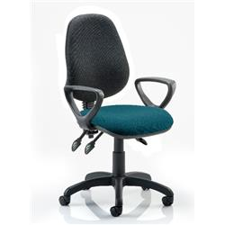 Eclipse III Lever Task Operator Chair Black Back Kingfisher Colour Seat With Loop Arms Ref KCUP0886