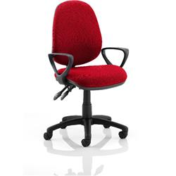 Luna II Lever Task Operator Chair Cherry Colour With Loop Arms Ref KCUP0936