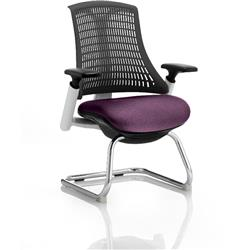 Flex Task Operator Chair White Frame Black Back Cantilever Purple Colour Seat With Arms Ref KCUP0744