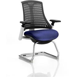 Flex Task Operator Chair White Frame Black Back Cantilever Serene Colour Seat With Arms Ref KCUP0739