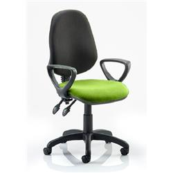 Eclipse III Lever Task Operator Chair Black Back Swizzle Colour Seat With Loop Arms Ref KCUP0882