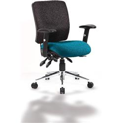 Chiro Task Operator Chair Medium Back Kingfisher Colour Seat With Arms Ref KCUP0127
