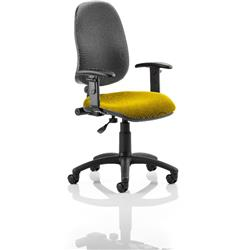 Eclipse I Lever Task Operator Chair Black Back Sunset Colour Seat With Height Adjustable Arms Ref KCUP0819