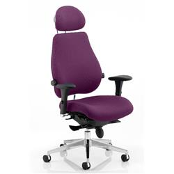 Chiro Plus Posture Chair Ultimate With Headrest Purple Colour With Arms Ref KCUP0176