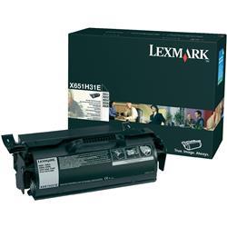 Lexmark X651de Laser Toner Cartridge High Yield Page Life 10000pp Black Ref X651H31E