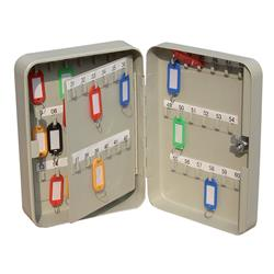 Key Cabinet Steel with Lock 60 Colour Tags 60 Numbered Hooks Grey