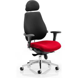 Chiro Plus Posture Chair Ultimate With Headrest Cherry Colour Seat With Arms Ref KCUP0161