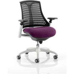 Flex Task Operator Chair White Frame Black Back Purple Colour Seat With Arms Ref KCUP0752