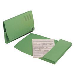 Elba Document Wallet Full Flap 260gsm Capacity 32mm Foolscap Green Ref 100090254 - Pack 50