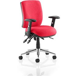 Chiro Task Operator Chair Medium Back Cherry Colour With Arms Ref KCUP0113