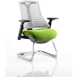 Flex Task Operator Chair Black Frame White Back Cantilever Swizzle Colour Seat With Arms Ref KCUP0754