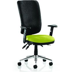 Chiro Task Operator Chair High Back Swizzle Colour Seat With Arms Ref KCUP0106